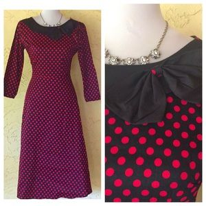 Dresses & Skirts - Black and red polka dot retro dress with bow